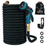 Garden Hose Water Hose Expandable Garden Hose Flexible Garden Hose 100FT No-Kink Flexible Expanding Water Hose with 9 Function Spray Nozzle,3/4 Solid Brass Fittings for Watering/Washing/Cleaning