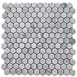 "Carrara White (Bianco Carrera) 1"" Hexagon Mosaic Tile Polished - Marble from Italy"