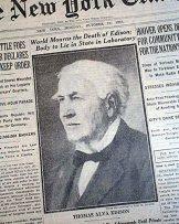 Amazon.com: THOMAS ALVA EDISON Electric Light Bulb Phonograph Inventor DEATH  1931 Newspaper THE NEW YORK TIMES, October 19, 1931.: Entertainment  Collectibles