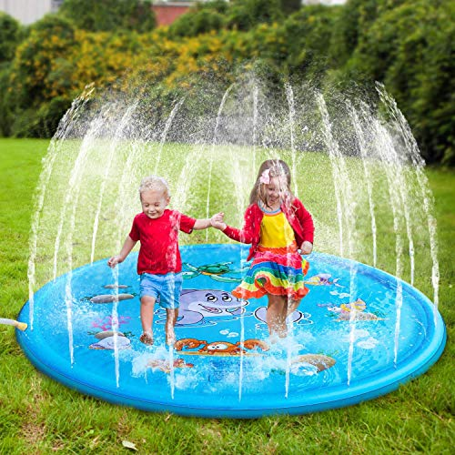 HOTUEEN 170cm Kids Sprinkle and Splash Play Mat Pad Toy Inflatable Outdoor Sprinkler Pad Water Pad Toys for Children Infants Toddlers Boys Girls