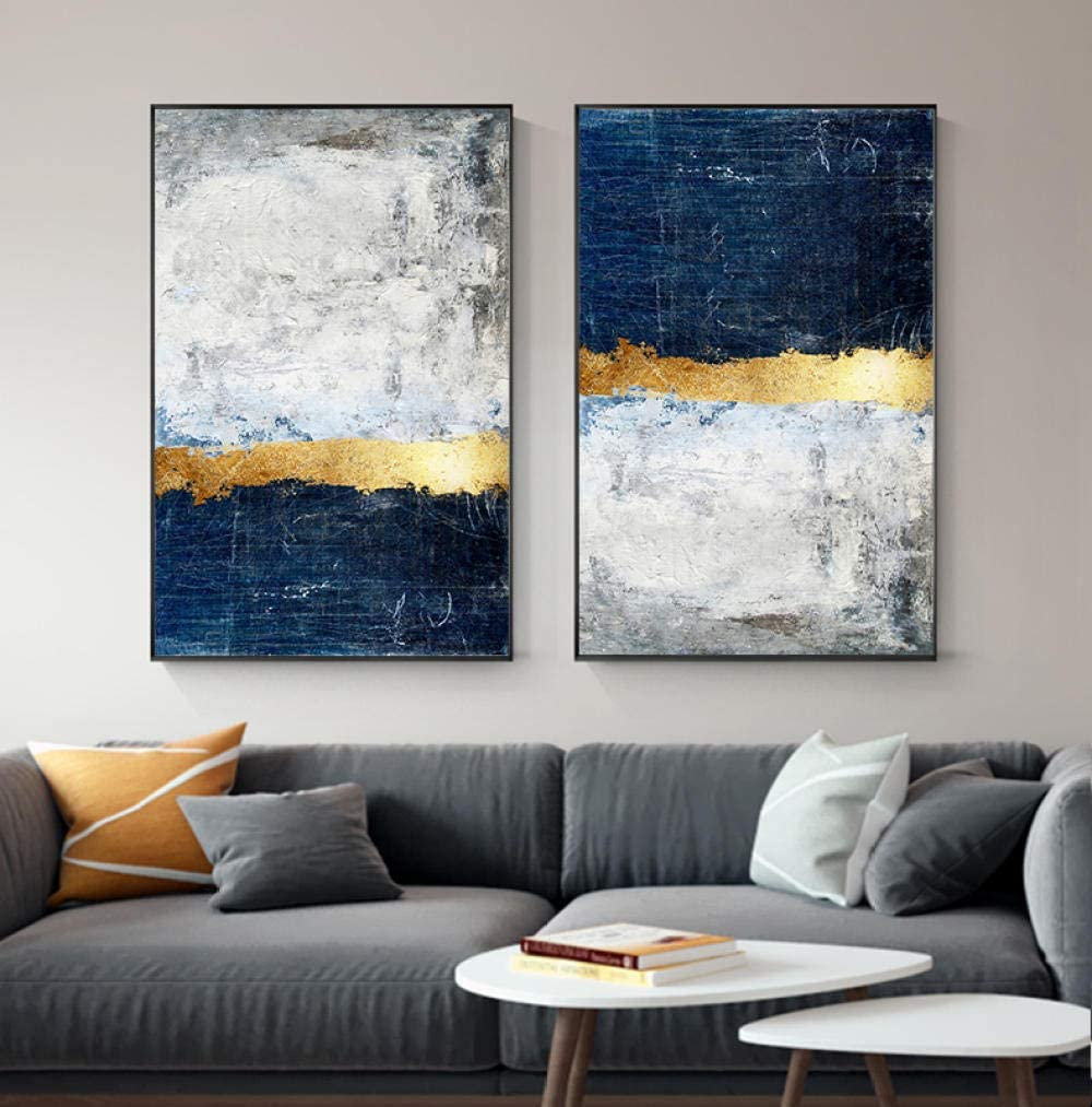 Amazon Com Modern Golden Wall Art Picture Abstract Gold Foil Block Painting Blue Poster Print For Living Room Navy Decor 40x60cmx2 Pcs No Frame Posters Prints