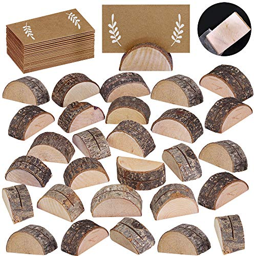 30 Pcs Rustic Wood Wedding Place Card Holders with 32 Pcs Kraft Tented Cards Half-Round Table Numbers Holder Stand Wooden Memo Holder Card Photo Picture Note Clip Holders Escort Card Holder