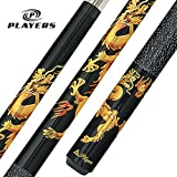 Players D-DRG Midnight Black with Golden Dragons Cue, 20-Ounce
