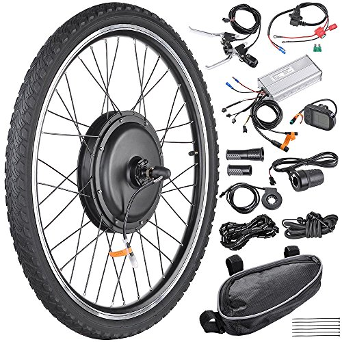 "AW 26""x1.75"" Front Wheel Electric Bicycle Motor Kit 48V 1000W Powerful Motor E-Bike Conversion w/ LCD Display"
