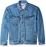 Wrangler Men's Classic Denim Jacket-Motorcycle Edition, Vintage, XL
