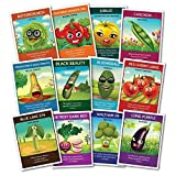 Heirloom Culinary Vegetable Seeds (12 pack) - Eggplant, Bell Pepper, Yellow Tomato, Cherry Tomatoes, Snap Peas, Squash, Zucchini, Spinach, Bush Beans, Beets, Broccoli, Lettuce - Zziggysgal