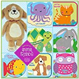 Kidsbooks Animal Friends Baby Gift Set - 2 Bath Squeakers Books, 2 Cloth Crinkle Sound Books, 3 Board Books and Plush Puppy Toys Early Education for Toddler Infants Kids Fun Shower Interactive Play