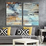 wall26 - 2 Panel Canvas Wall Art - Abstract Grunge Color Composition - Giclee Print Gallery Wrap Modern Home Decor Ready to Hang - 24'x36' x 2 Panels
