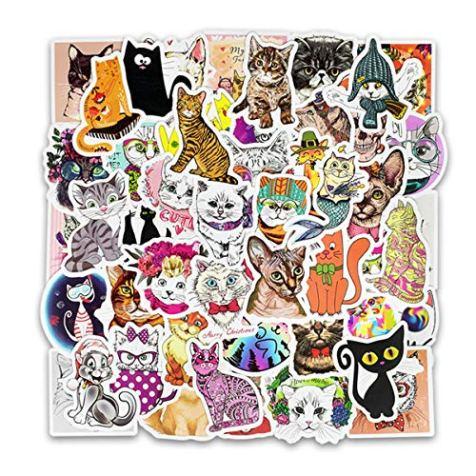 50pcs-Cool-Animals-Cute-Funny-Cat-Emoji-Sticker-for-Laptop-Phone-Computer-PC-Water-Bottle-Bike-Helmet-Car-Motorcycle-Bumper-Luggage-Helmet-Skateboard-Snowboard-Waterproof-Graffiti-Hippie-Decals-Cat