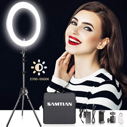 18 Inches Adjustable 2700-5500K Color Temperature Ring Light, SAMTIAN Dimmable SMD LED Ring Light Photography Video Lighting Kit with 78