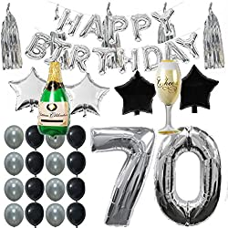 70th B-day Party Supplies Decorations Kit Pack, Silver