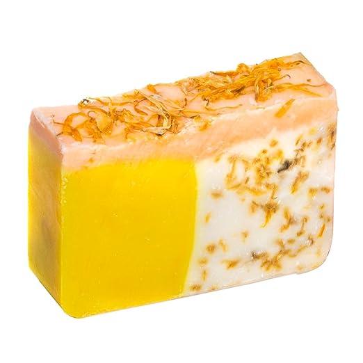 Orange Soap with Calendula Oil (4Oz) – Handmade Soap Bar with Orange, Yuzu and Calendula Essential Oils, flower petals – Organic and All-Natural – by Falls River Soap Company