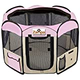 Pet 45' Playpen Foldable Portable Dog/Cat/Puppy Exercise Kennel For Small medium Large. The Best Indoor And Outdoor Pen. With Cary Bag. Easily Sets Up & Folds Down & Space Free (Pink)