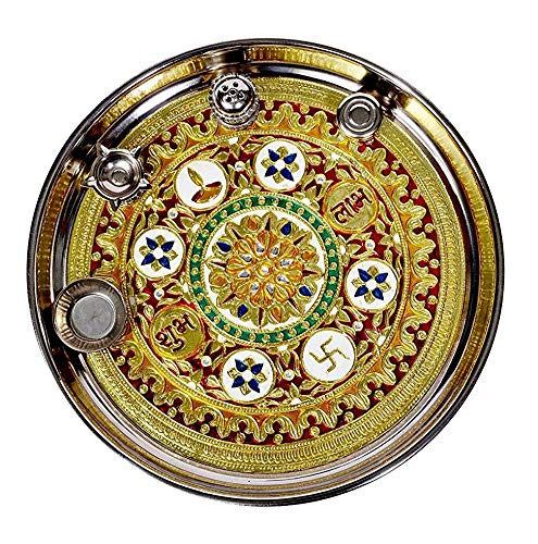 pranjals-house-Stainless-Steel-Pooja-Thali-Set-11-inch-Multicolour