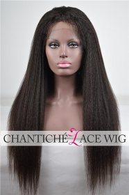 "Chantiche Italian Yaki 4x4"" Silk Top Human Hair Lace Front Wigs with Baby Hair"