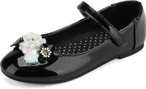 DREAM PAIRS Girls Mary Jane Ballerina Strap Flat Dress Shoes Black Size 2 Little Kid Angie-1