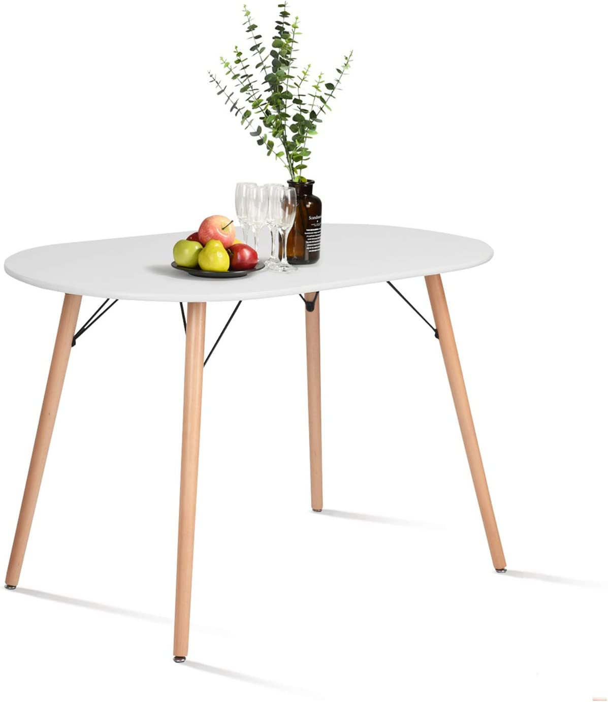 Amazon Com Homy Casa Farmhouse Dining Table Mid Century Kitchen Table With Wood Tube Oval Top For Home Office Patio White Only Table Not Include Chairs Tables