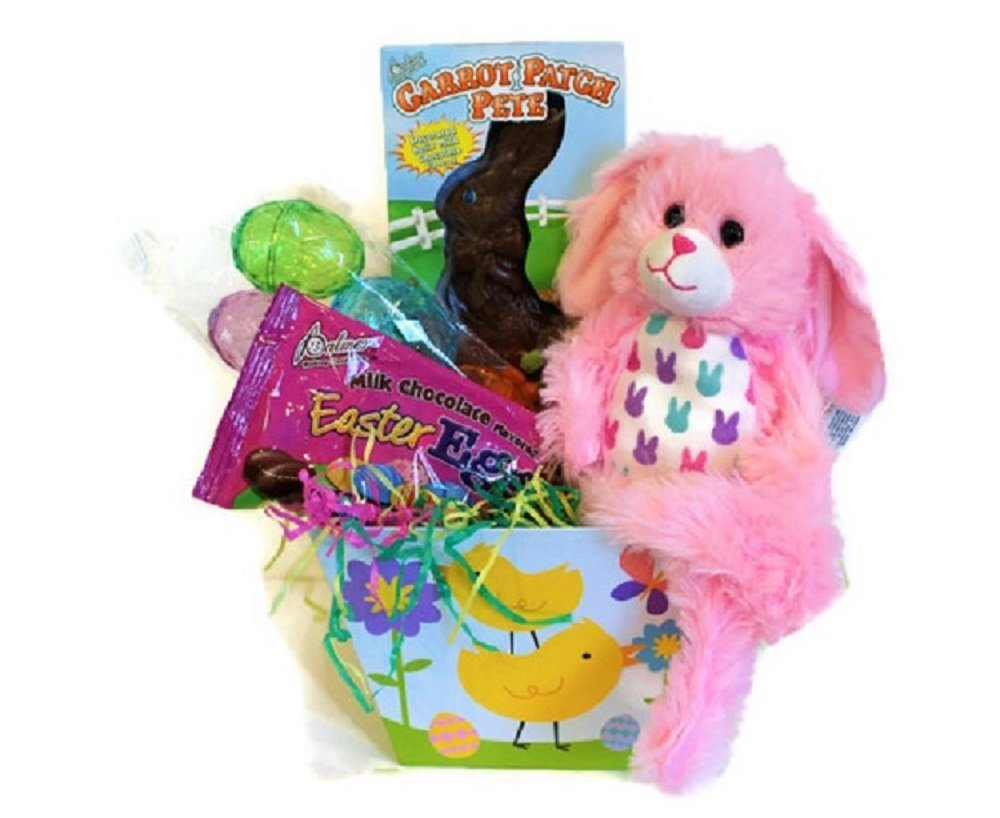 Easter Basket - For Egg Hunt Fun - Bundle Filled with Chocolate Bunny and Eggs,Grass and soft Pink Bunny