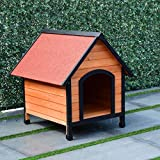 TANGKULA Dog House Pet Outdoor Bed Wood Shelter Home Weather Kennel Waterproof 4 Size (M)