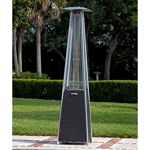 Top Selling Best Outdoor High Heat Propane Real Flame Fire Pyramid Brushed Bronze Steel Tower Patio Heater Warmer- Perfect Way To Take The Bite Off A Cold Evening Perfect For Parties Decks- Beautiful