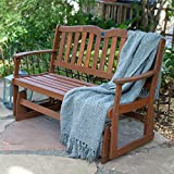 Outdoor Patio Gliders Bench Rocker Loveseat Porch Swing Wooden Glider 4 ft.