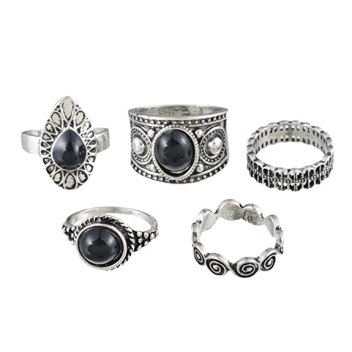MJARTORIA Black Rhinestone Cloud Joint Knuckle Stacking Rings Set of 5 (Silver)