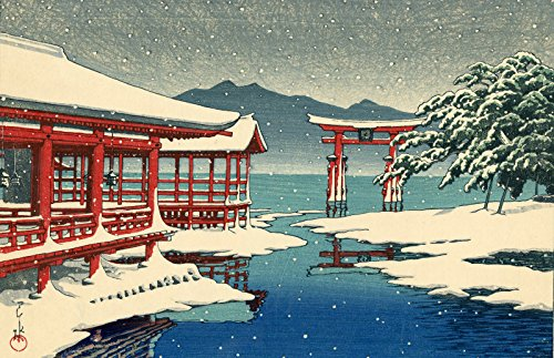 "Japanese Art Print ""The Miyajima Shrine in Snow"" by Kawase Hasui (12.5""x19"")"