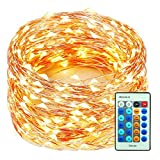 Decute 99 Feet 300 LEDs Copper Wire String Lights Dimmable with Remote Control, Christmas Lights with UL Cerficated for Party Wedding Bedroom Christmas Tree, Warm White