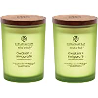 Chesapeake Bay Candle Scented Candles, Awaken + Invigorate (Lemongrass Eucalyptus), Medium (2-Pack), 2 Count