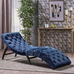 Christopher Knight Home Garamond Cobalt Velvet Chaise Lounge, Dark Brown