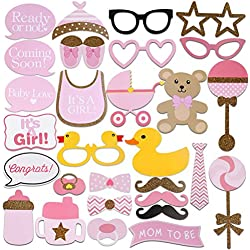 Baby Shower Photo Props, Baby Bottle Masks Pink Photobooth Props Newborn Girl Gift Party Decorations