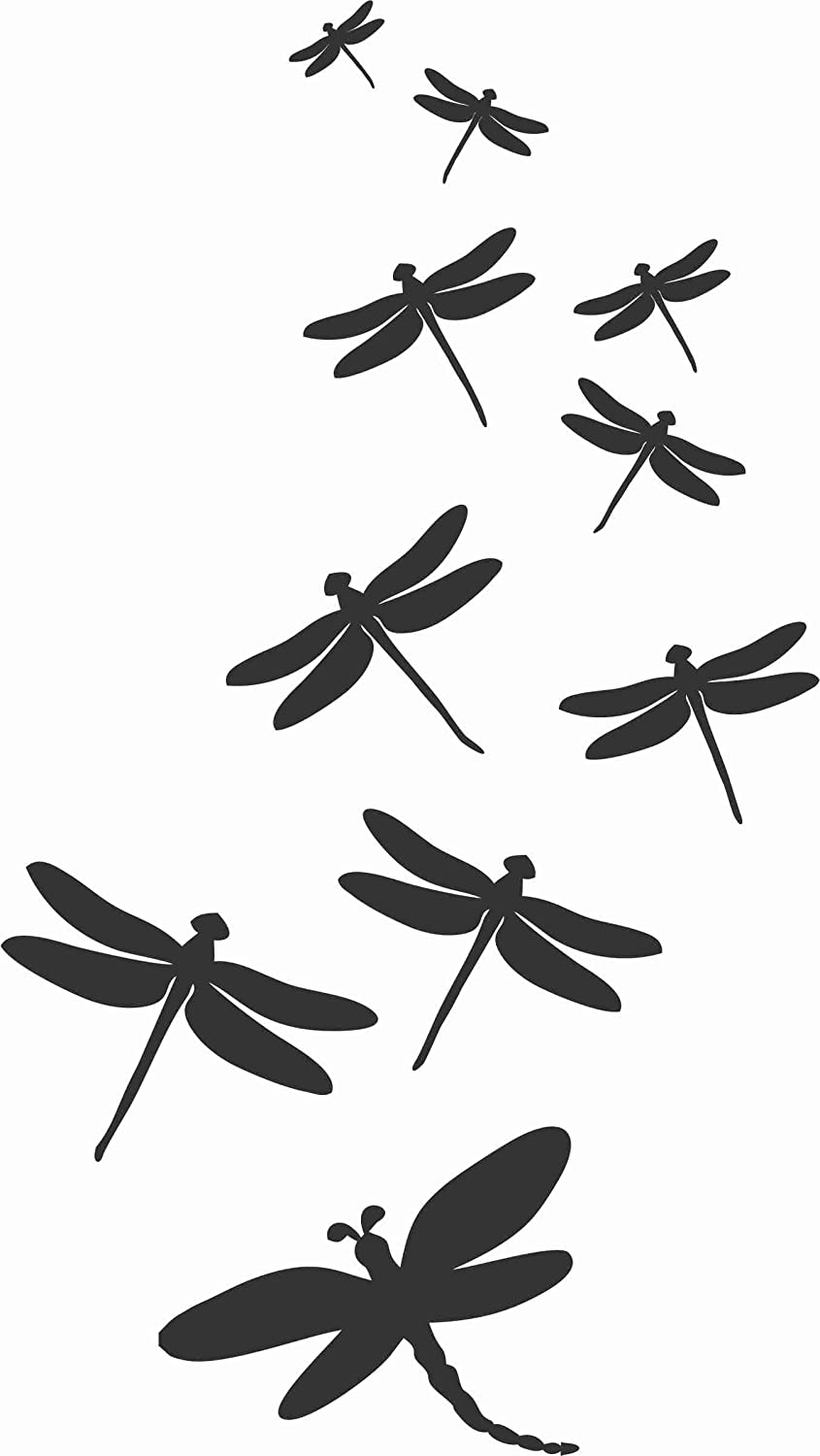 Amazon Com Matte Black Dragonfly Family Dragonflies Flying Die Cut Vinyl Window Decal Sticker For Car Truck 4 5 X8 Arts Crafts Sewing