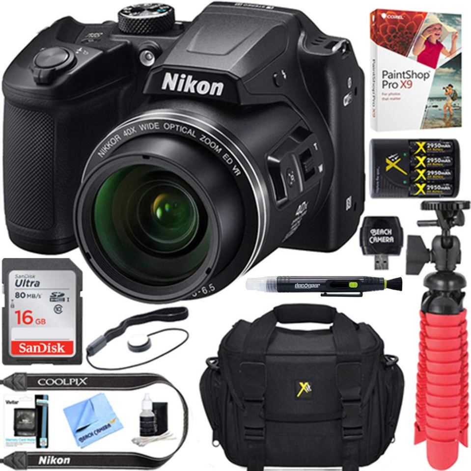 Nikon COOLPIX B500 16MP 40x Optical Zoom Digital Camera w/ Built-in Wi-Fi NFC & Bluetooth (Black) + 64GB SDXC Accessory Bundlehttps://amzn.to/2EldWkE