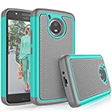 Tekcoo for Moto E4 Case, for 2017 Motorola Moto E 4th Generation Cute Case, [Tmajor] Shock Absorbing [Turqoise] Rubber Silicone & Plastic Scratch Resistant Bumper Grip Rugged Hard Cases Cover