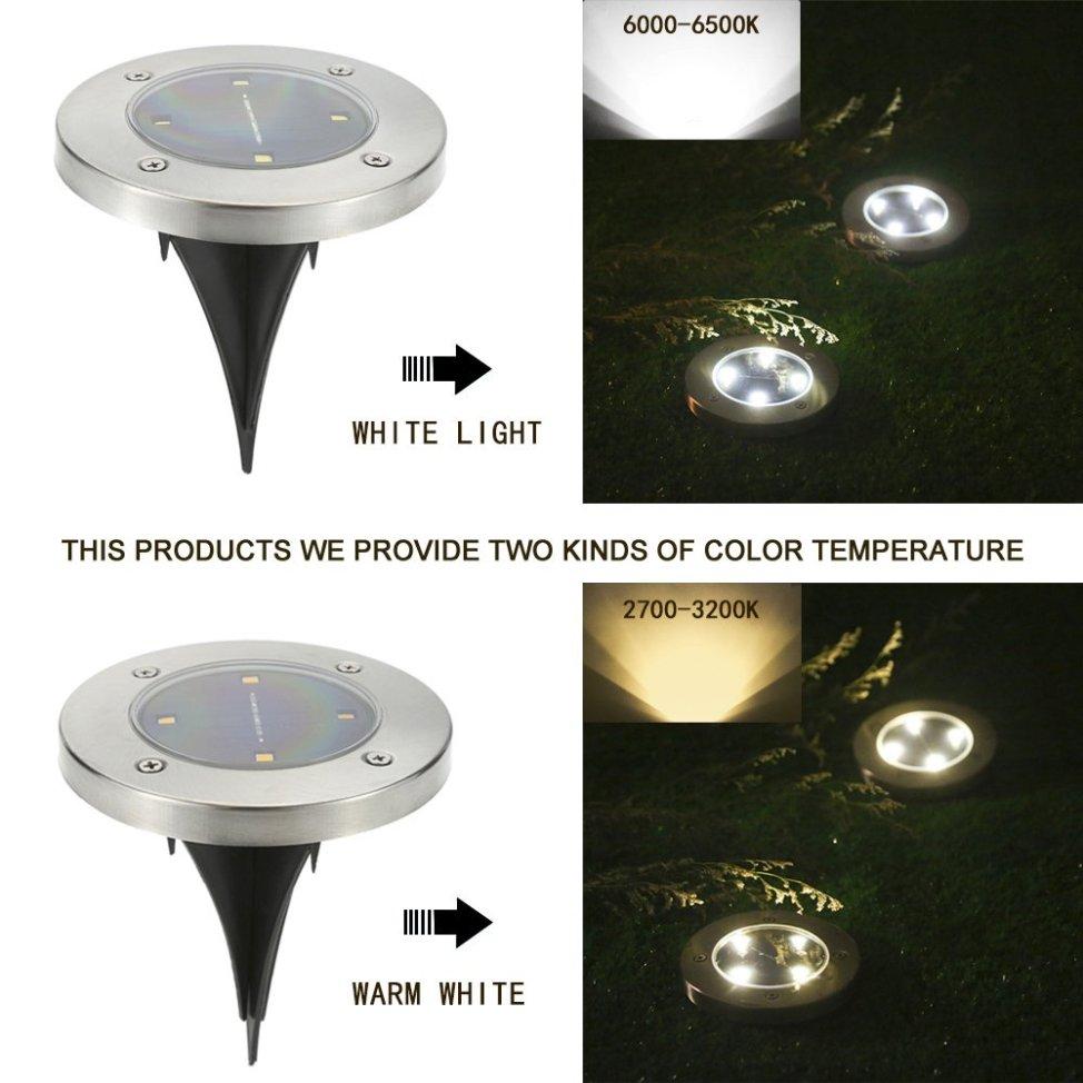 Tomshine 埋め込み式 LEDソーラーガーデンライト グラウンドライト 4個セット 40LM 防水 屋外照明/エクステリアライト ホワイト/ウォームホワイト