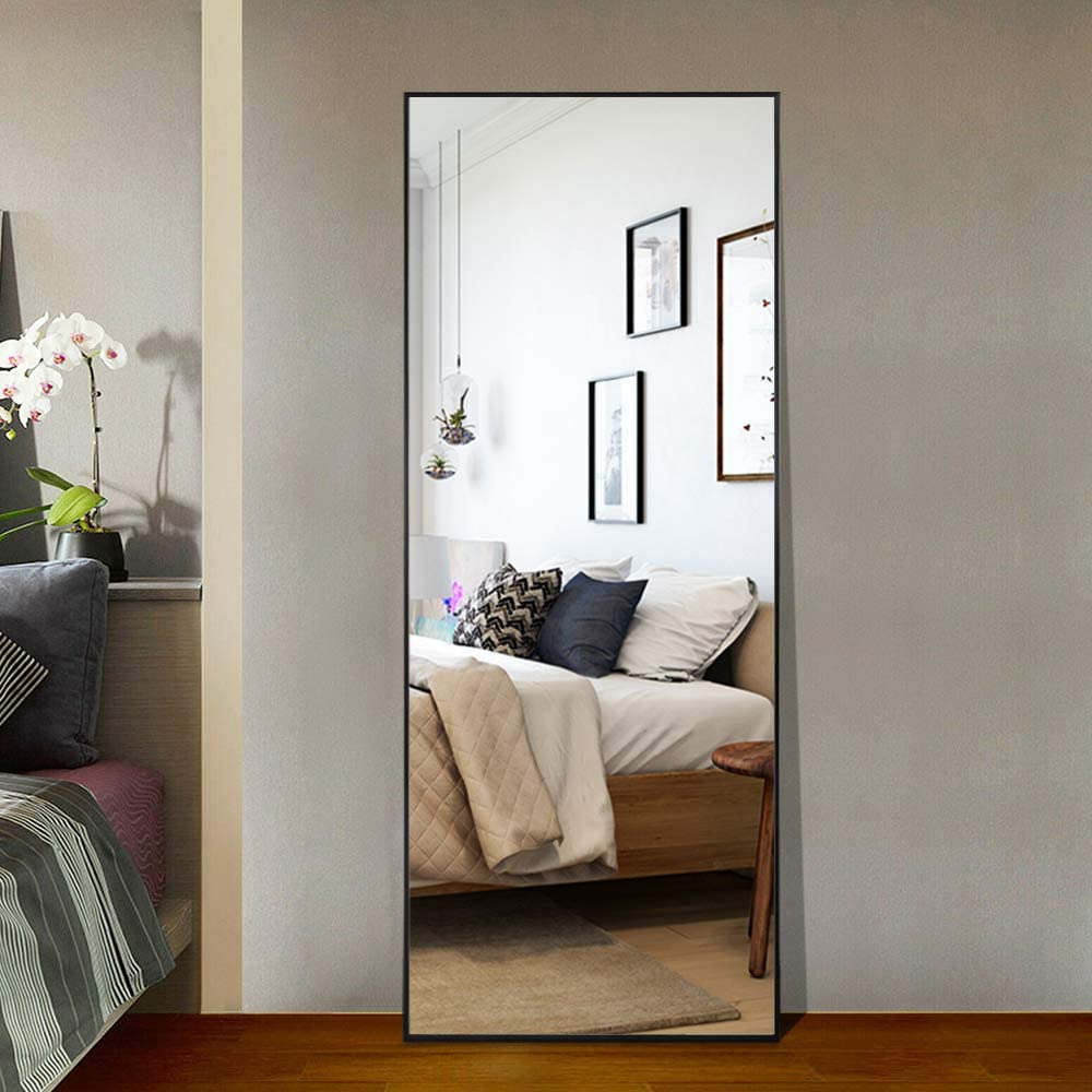 Amazon Com Leafmirror Floor Mirror Full Length Mirror Standing Hanging Mirror Dressing Mirror Wall Mounted Mirror Leaning Against Wall With Stand Bathroom Bedroom Living Room Decor Black Furniture Decor