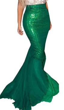 Women Halloween Costume Cosplay Mermaid Fancy Dress Skirt (US 2, Green 2)