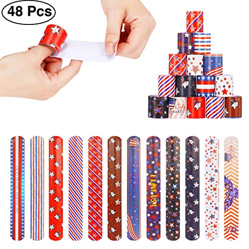 48pcs Slap Bracelets Party Favors 12 Different Designs with Patriotic USA Flag Stars Slap Bands