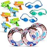 walla All in One Summer Party Bundle Pack for Kids - Set of 3 Swimming Goggles | 3X Inflatable Pool Floats for Boys & Girls | 6X Small Squirt Water Guns for Children - The Ultimate Fun in The Sun