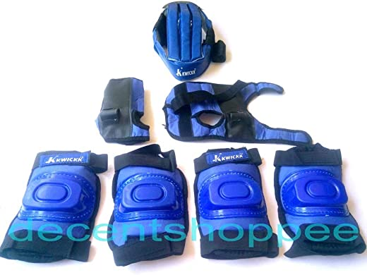 Unik Skate Protection Kit with Foam Helmet, Knee, Elbow Guards, Gloves for Kids (Blue, Small)