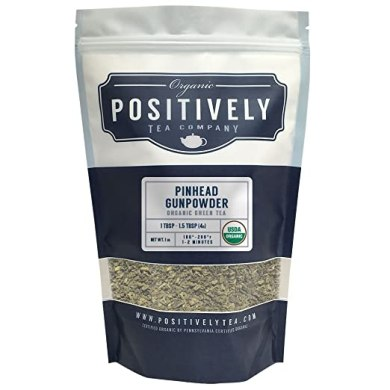 Positively Tea Company, Organic Pinhead Gunpowder, Green Tea, Loose Leaf, USDA Organic, 1 Pound Bag