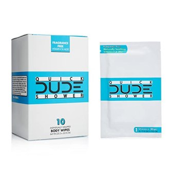 DUDE Shower Body Wipes, On-The-Go Singles for Travel, Unscented, Naturally Soothing Aloe and Hypoallergenic (1 Pack, 10 Wipes per Pack)
