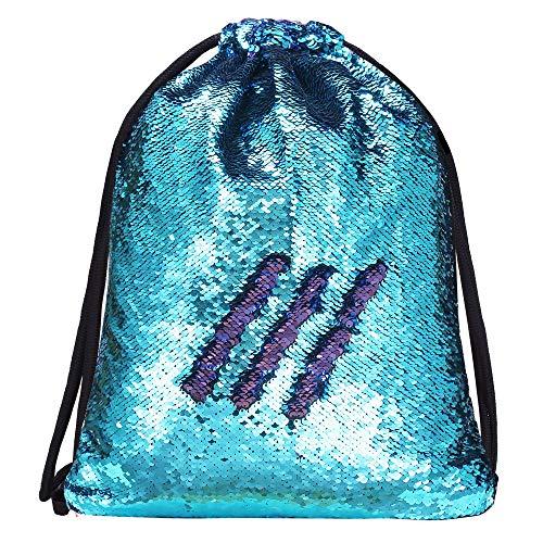 Alritz Mermaid Sequin Drawstring Bag, Reversible Sequin Backpack Glittering Outdoor Shoulder Bag for Girls Boys Women (Blue/Purple)
