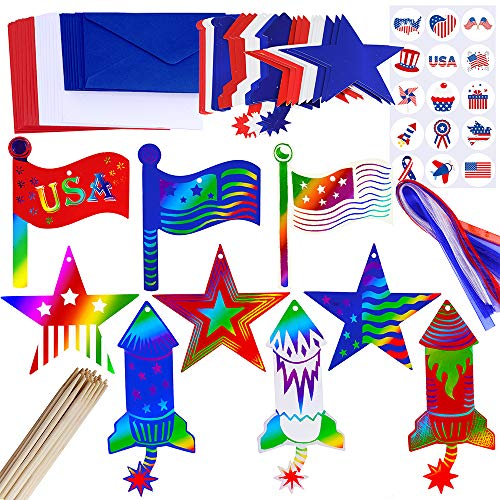 Supla 27 Set Patriotic Party Decoration Red White Blue Decoration 4th of July Patriotic Magic Scratch Ornaments with Sticker Ribbon Scratching Tools Envelopes for Memorial Day Independence Day