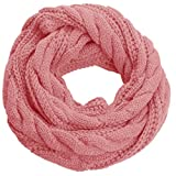NEOSAN Womens Thick Ribbed Knit Winter Infinity Circle Loop Scarf Twist Pink