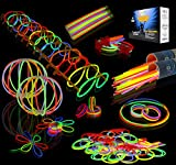 JOYIN Glow Sticks Bulk 200 8' Glowsticks (Total 456 PCs 7 Colors); Bracelets Glow Necklaces Glow-in-The-Dark Light-up July 4th Party Supplies Pack.