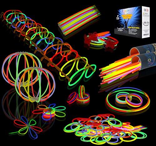 JOYIN Glow Sticks Bulk 200 8' Glowsticks (Total 456 PCs 7 Colors); Bracelets Glow Necklaces Glow-in-The-Dark Light-up July 4th Halloween Party Supplies Pack
