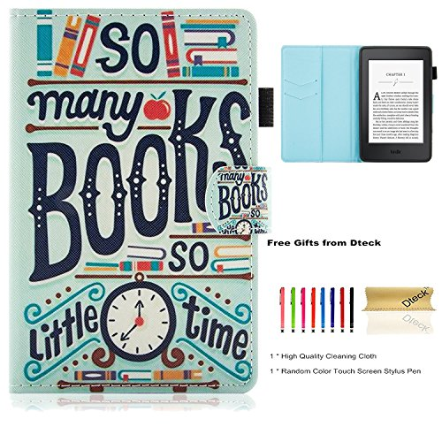 Dteck Case for Kindle Paperwhite [with Stylus] - Folio Cute Cartoon Slim Light Smart Case Synthetic Leather Wallet Protective Cover for All-New Amazon Kindle Paperwhite 10th Generation 6 Inch-Books