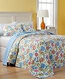 Martha Stewart Gramercy Garden Reversible Quilted Cotton Queen Bedspread Quilt