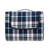 Make it fun Extra Large Picnic & Outdoor Blanket with Waterproof Backing 90' x 80' White& Navy Blue